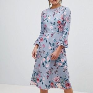 ASOS blue floral midi dress with sleeves size 6